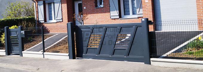 Portail Coulissant Pulsion Moderne Opaque Semi Opaque Et